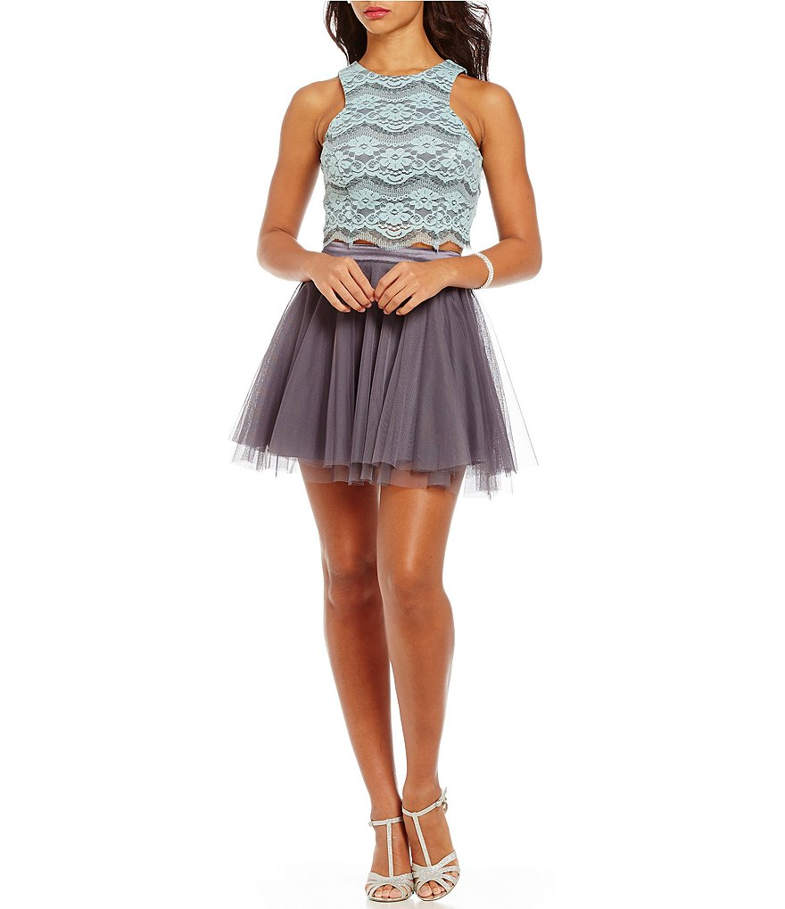 Teeze Me Lace to Mesh Two-Piece Dress