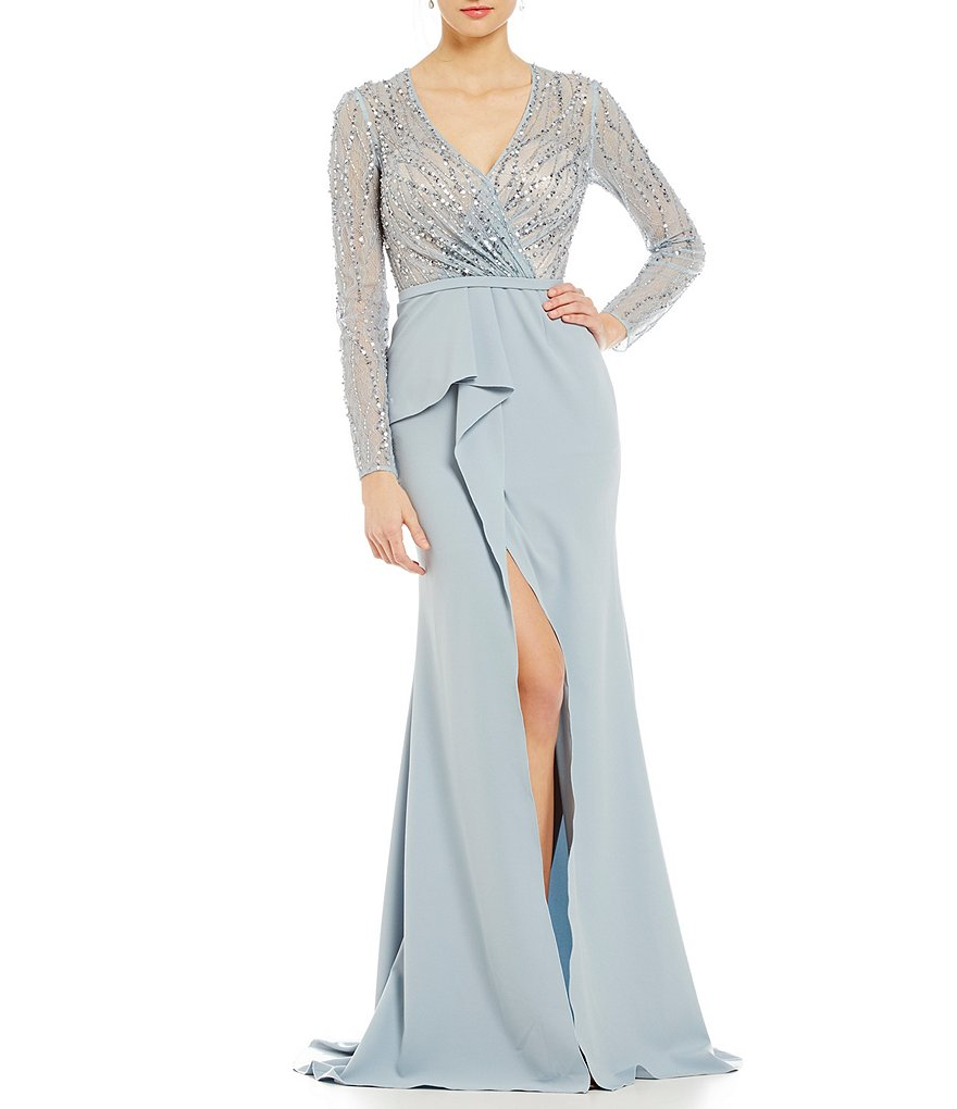 Terani Couture Faux-Wrap Beaded Gown