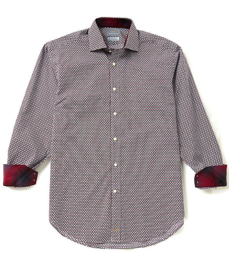 Thomas Dean Geo Print Long-Sleeve Dobby Woven Shirt