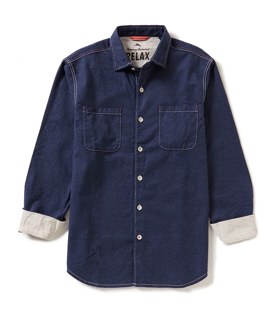 Tommy Bahama Long-Sleeve New Seaside Flannel Solid Woven Shirt