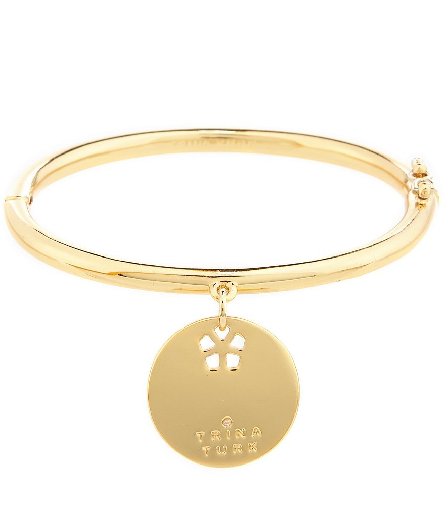 Trina Turk Flower Charm Hinge Bangle Bracelet