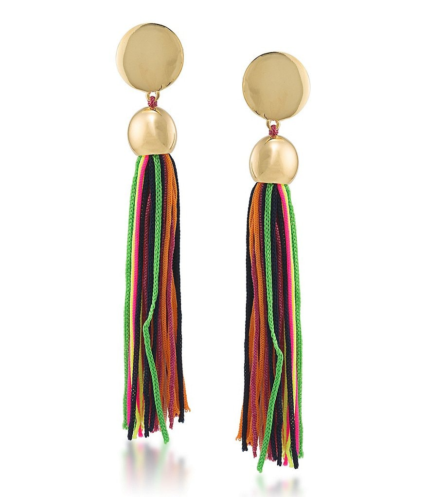 Trina Turk Mojito Nights Tasseled Linear Drop Earrings