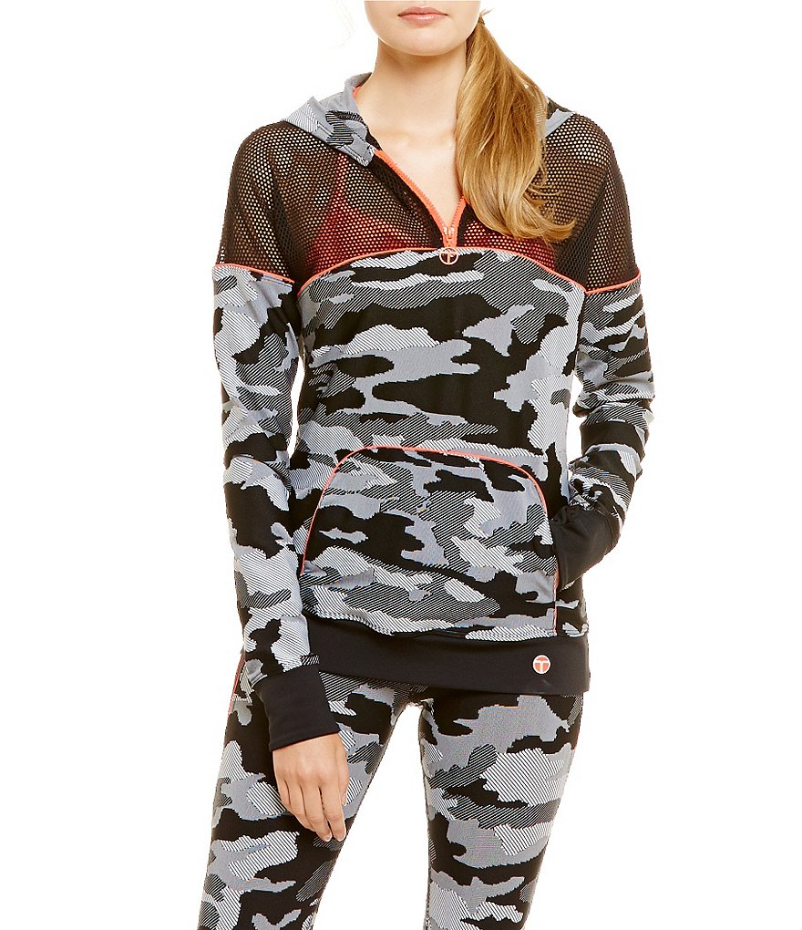 Trina Turk Recreation Camo 1/4 Zip Front Hooded Jacket