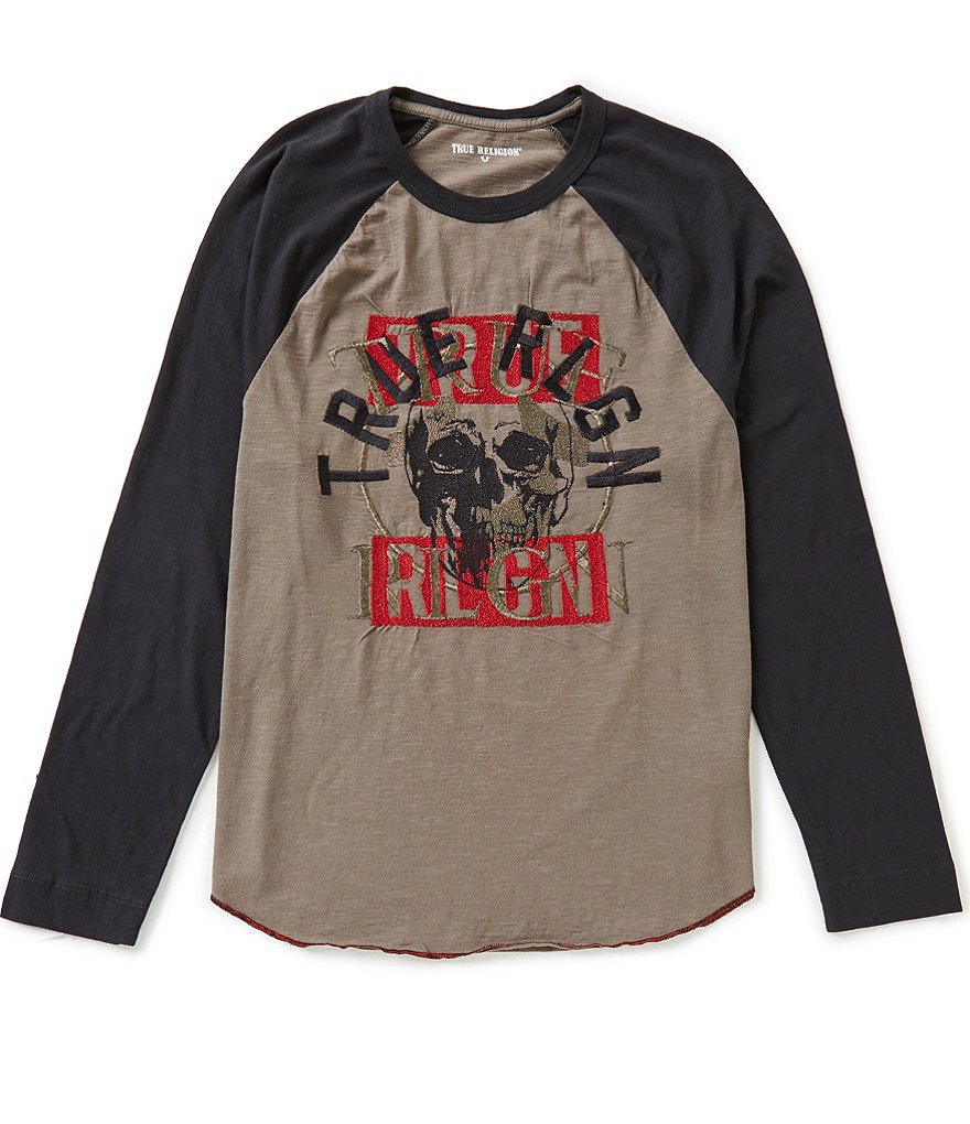 True Religion Long-Sleeve Raglan Skull Logo Graphic Tee