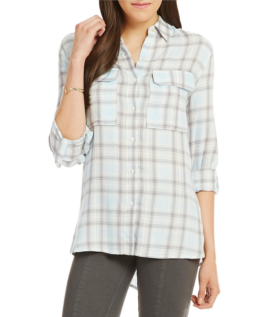 Two by Vince Camuto Checked Twill Relaxed Utility Shirt