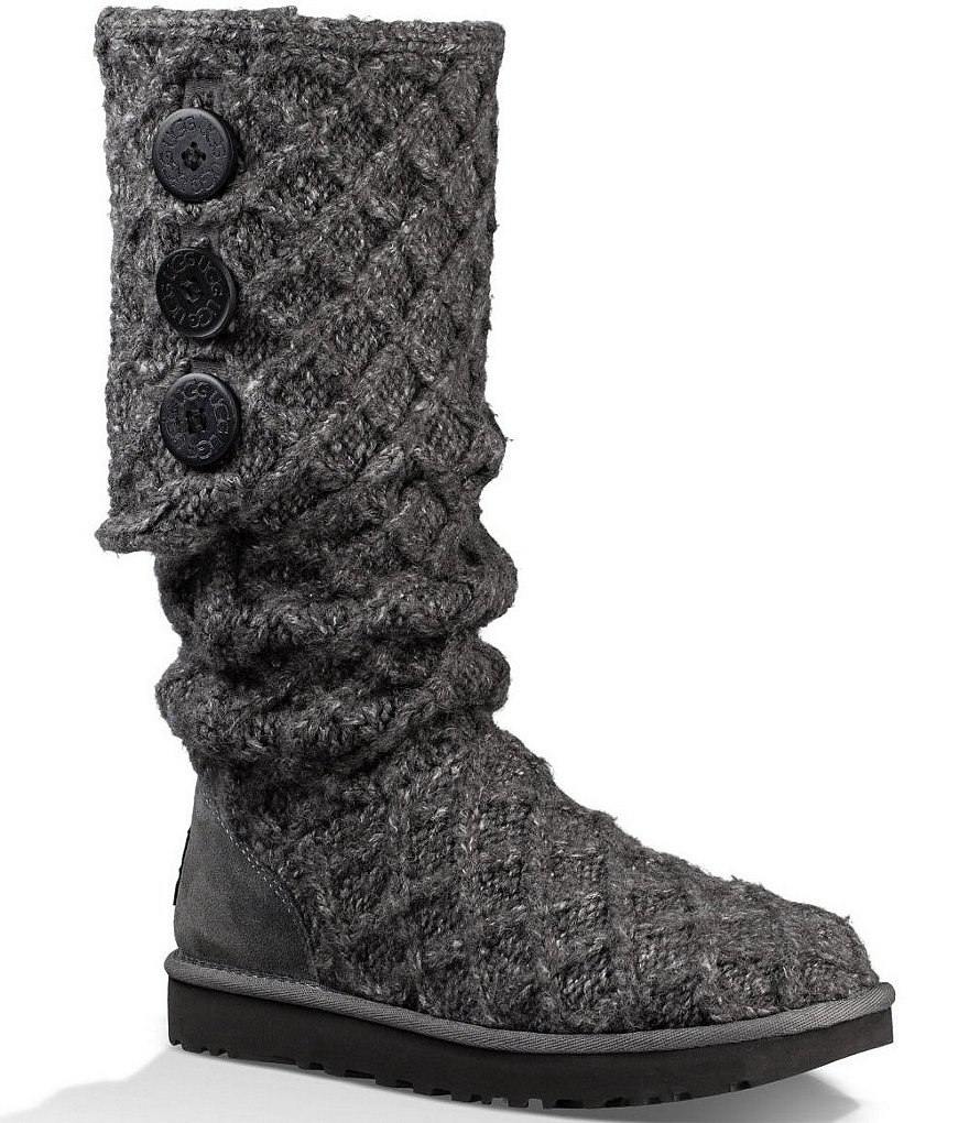 UGG® Lattice Cardy Knit Button Detail Fold-able Boots