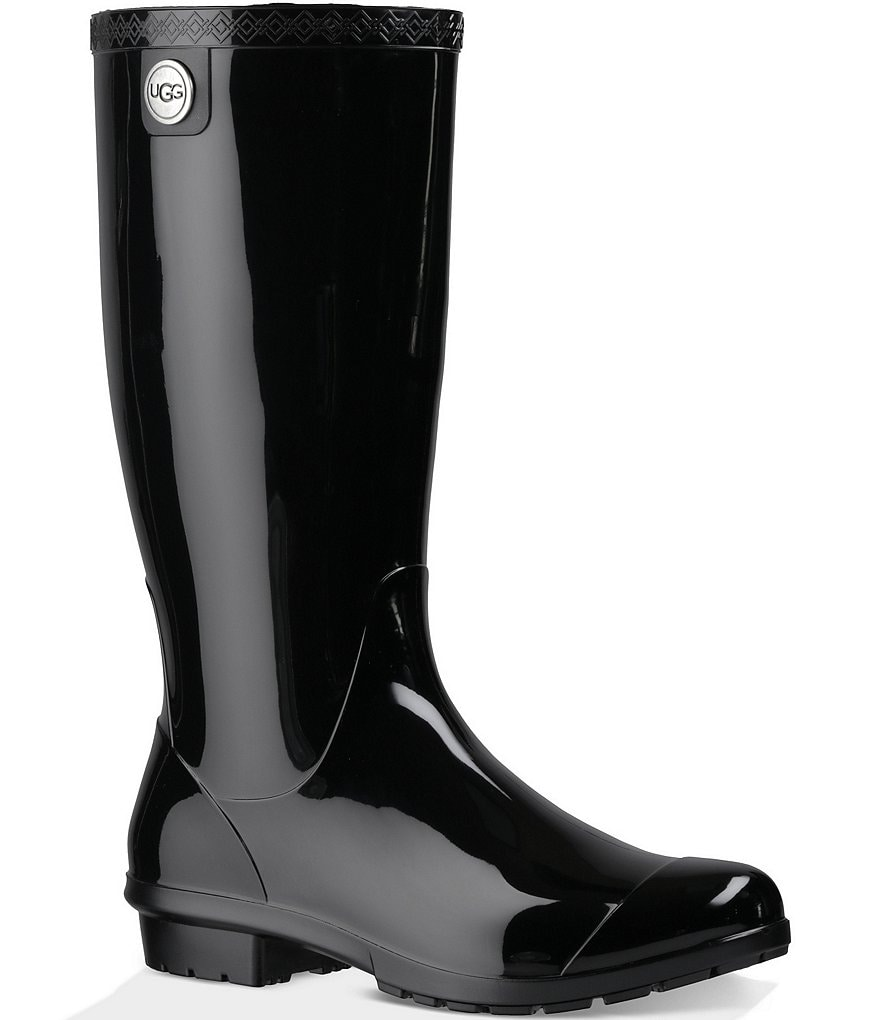 UGG® Shaye Rubber Shearling Lined Glossed Waterproof Rain Boots