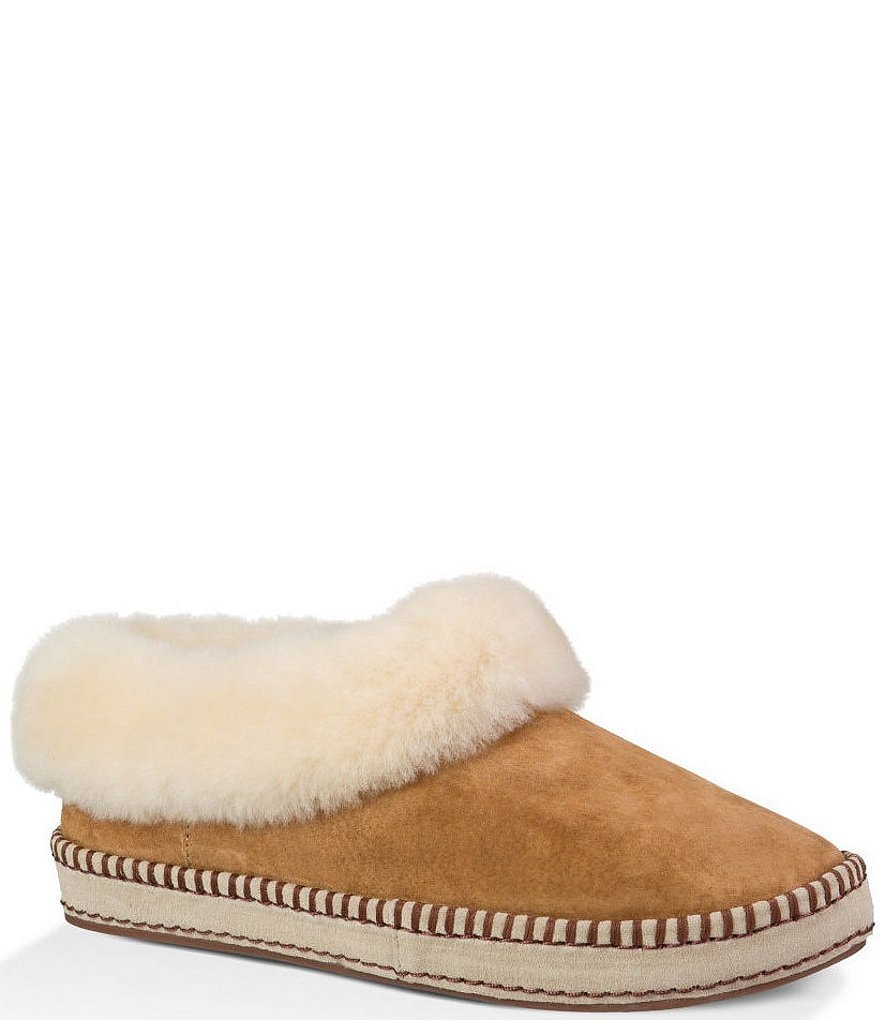 UGG® Wrin Sheepskin Collar Water-Resistant Slippers