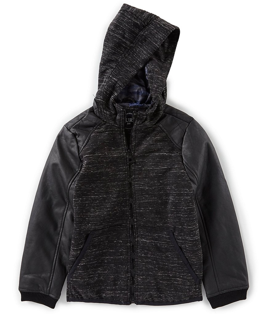 Urban Republic Big Boys 8-20 Hooded Faux Leather Sleeved Jacket