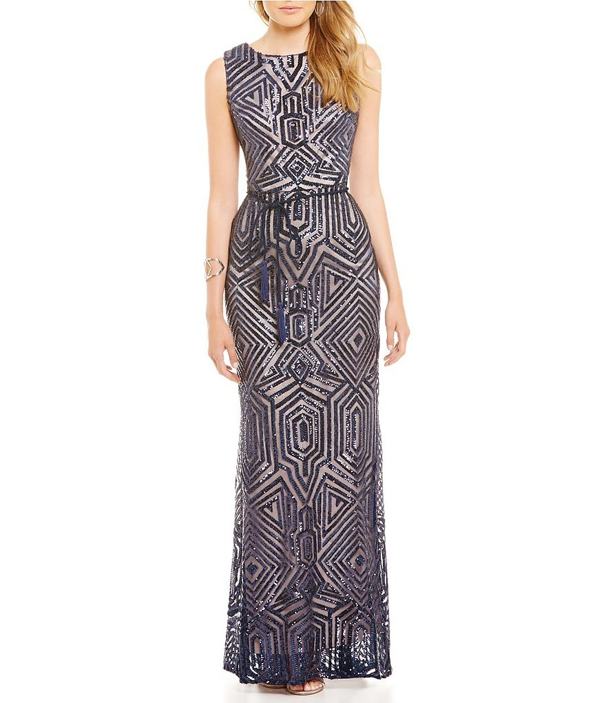 Vince Camuto Geo Nude Sleeveless Sequin Gown