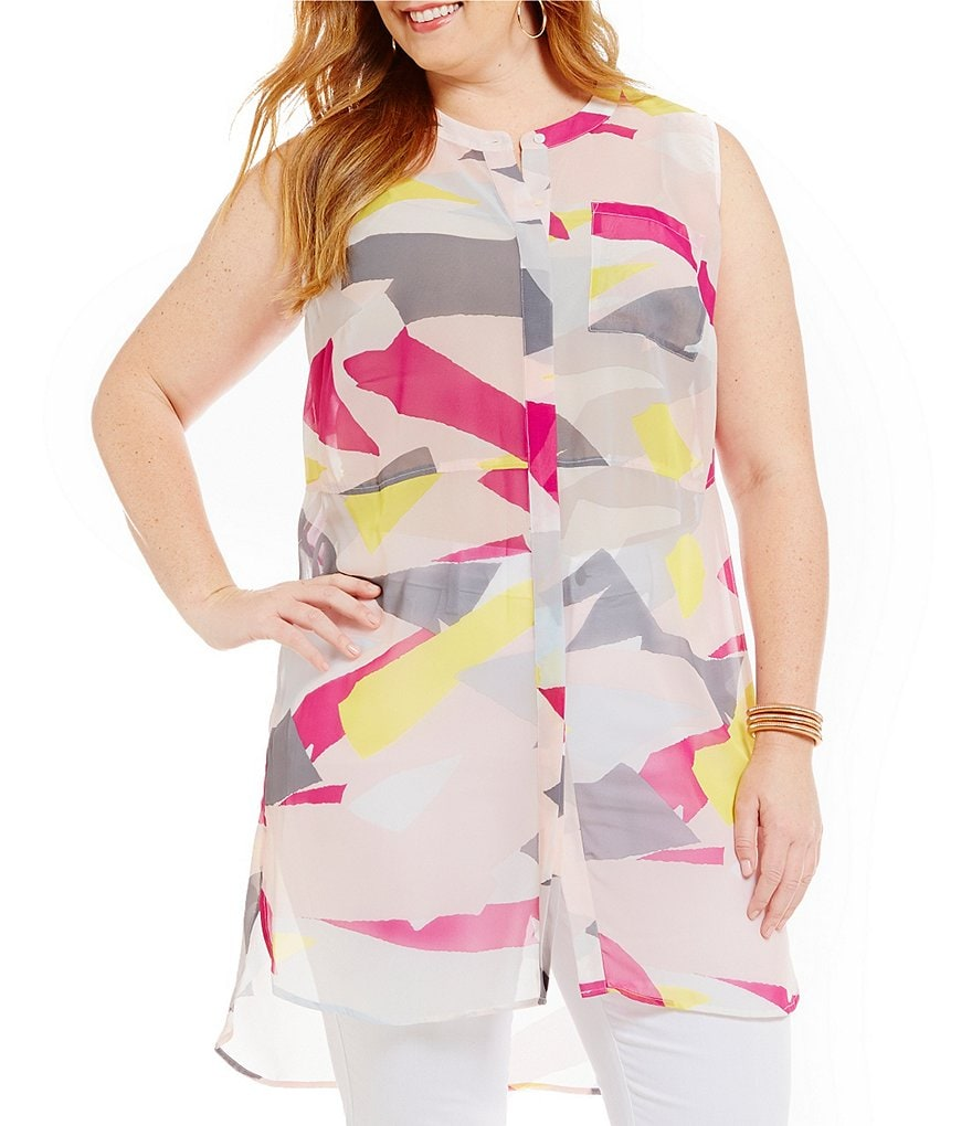 Vince Camuto Plus Sleeveless Abstract Cutouts Print Blouse