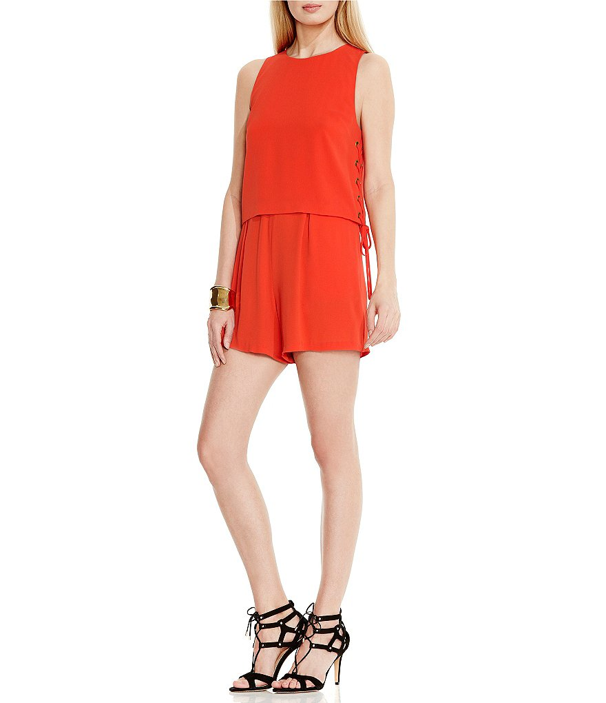 Vince Camuto Popover Romper with Side Lace-Up