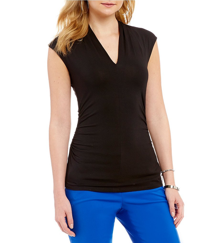 Vince Camuto Sleeveless Ruched Sides Top