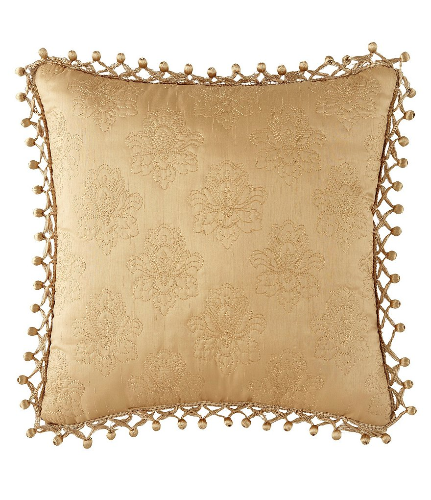 Waterford Beaumont Ball-Fringed Damask-Quilted Square Pillow