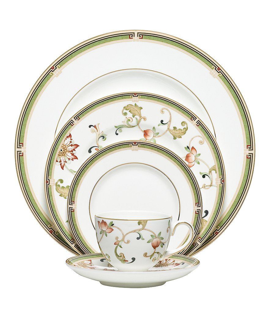 Wedgwood Oberon Chinoiserie Floral Vine Gold Bone China 5-Piece Place Setting