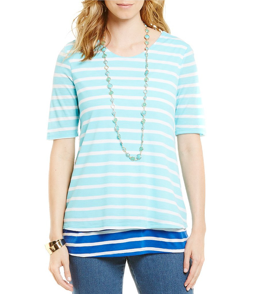 Westbound Petites Elbow Sleeve Double Layer Top