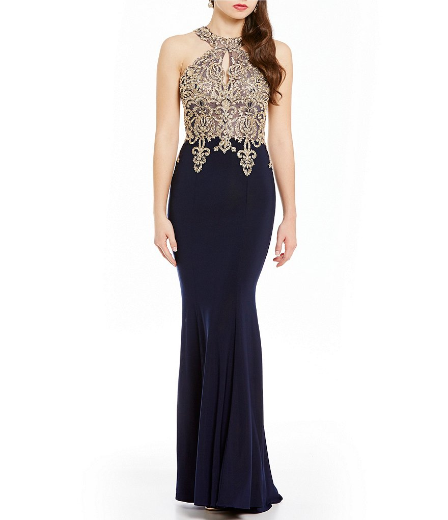Xscape Gold Applique Halter Gown