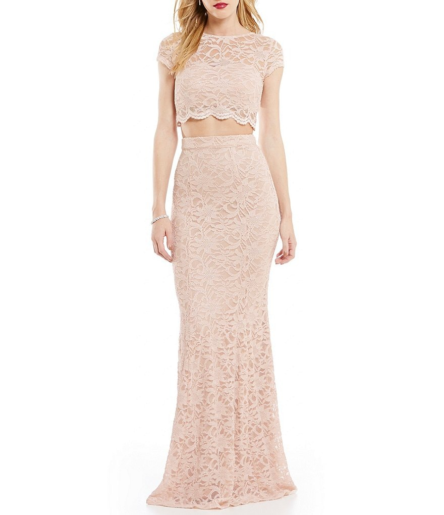 Xtraordinary Two-Piece Cap Sleeve Lace Gown