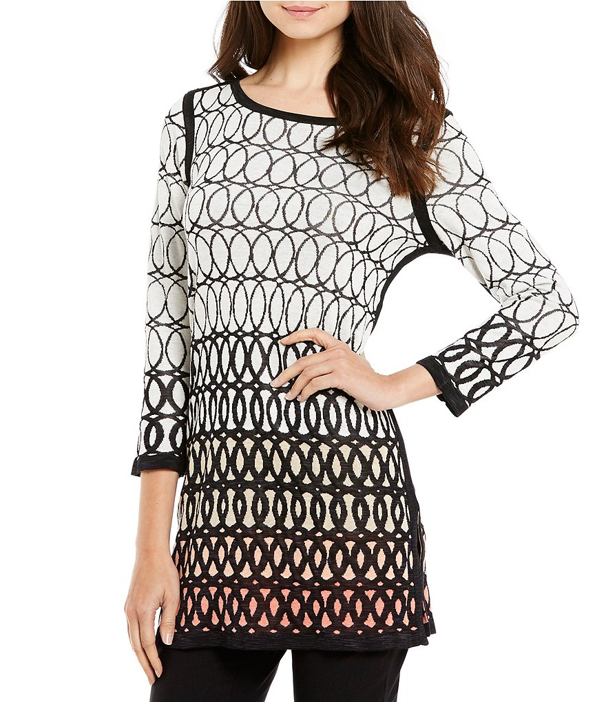 ZOZO Spring It Scoop Neck Long Sleeve Printed Knit Tunic Dress