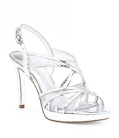 Adrianna Papell Adri Satin and Mesh Strappy Dress Sandals