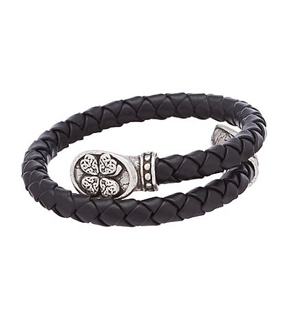 Alex and Ani Men's Braided Leather Wrap Leaf Bracelet