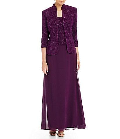 Alex Evenings 2-Piece Glitter Embellished Jacquard Jacket Dress