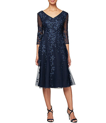 Alex Evenings Illusion Sleeve Embroidered V-Neck A-Line Midi Dress