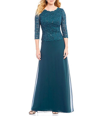 Alex Evenings Petite Sequined Lace-Bodice Gown