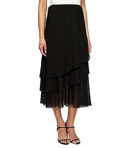 Alex Evenings Tiered Ruffle Chiffon A-Line Midi Skirt