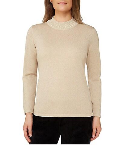 Allison Daley Pearl Embellished Mock Neck Pullover