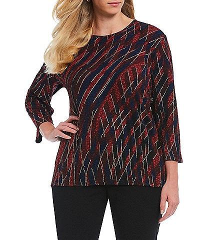 Allison Daley Plus Size Bordeaux Weave Print Pucker Knit Top