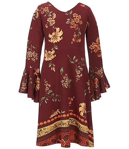 Angie Big Girls 7-16 Fall Floral-Print Bell Sleeve Dress
