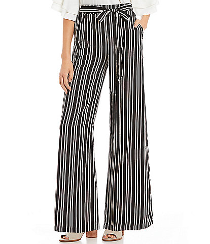 Angie Striped Tie Front Wide Leg Pants