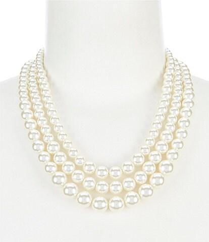 Anne Klein Blanc Pearl Three Row Collar Necklace