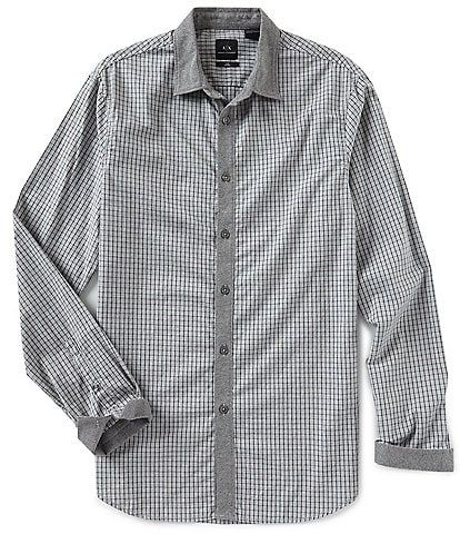 Armani Exchange Slim-Fit Check Yarn-Dyed Long-Sleeve Woven Shirt