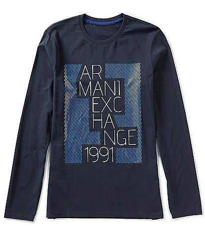 Armani Exchange Slim-Fit Staggered Logo Long-Sleeve Tee