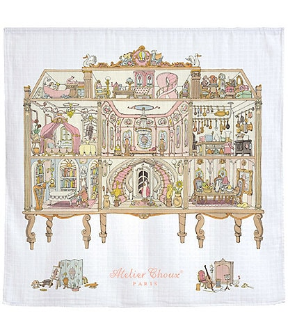 Atelier Choux Paris Baby Dollhouse Swaddle Blanket with Gift Box