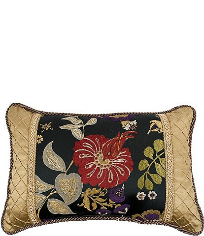 Austin Horn Classics Escapade Pieced Floral & Diamond Boudoir Pillow