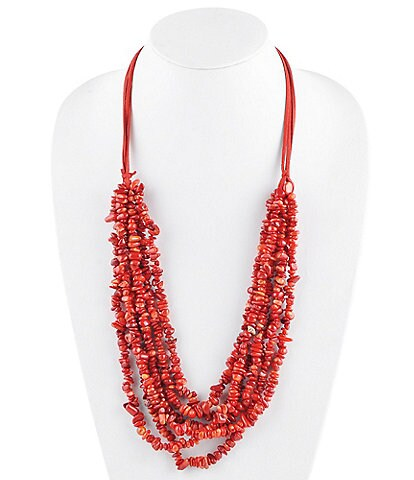 Barse Long Red Coral Chip Necklace