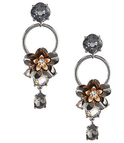 Belle Badgley Mischka Flower Stone Drop Statement Earrings