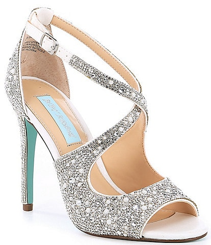 Blue by Betsey Johnson Sage Rhinestone Jeweled Satin Dress Sandal