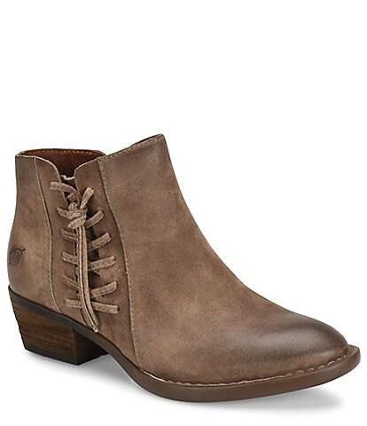 Born Bessie Distressed Leather Block Heel Booties