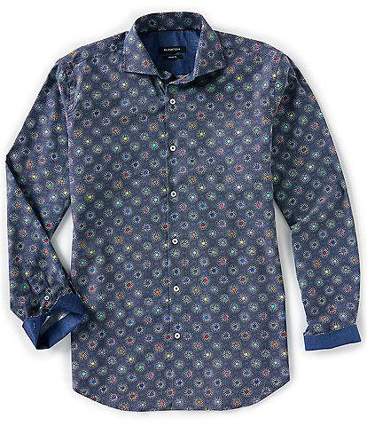 Bugatchi Bubble Burst Print Long-Sleeve Woven Shirt