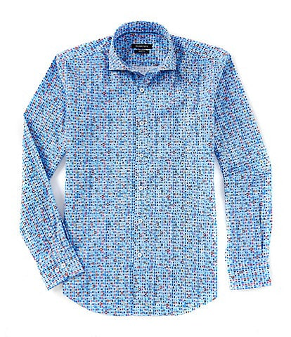 Bugatchi Geo Print Shaped-Fit Long-Sleeve Woven Shirt