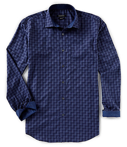 Bugatchi Shadow Stepweave Long-Sleeve Woven Shirt