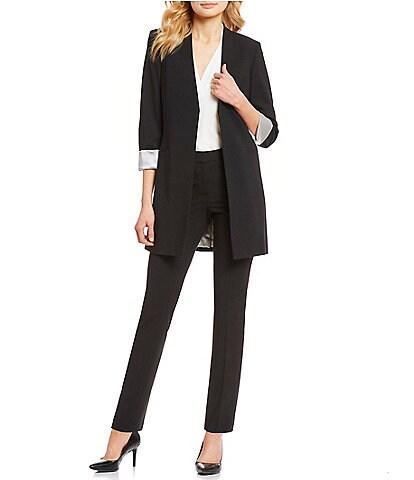 Calvin Klein Satin Stripe Roll Cuff Long Open Front Jacket & Luxe Stretch Slim Leg Pants