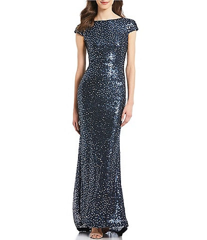 Calvin Klein Short Sleeve Cowl Back Ombre Sequin Gown