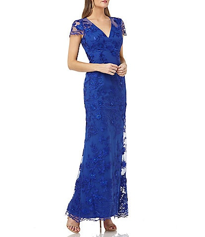 Carmen Marc Valvo V-Neck Cap Sleeve Fleurette Gown