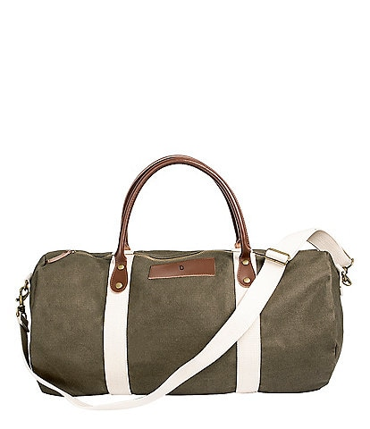 Cathy's Concepts Initial Canvas & Leather Green Duffel Bag