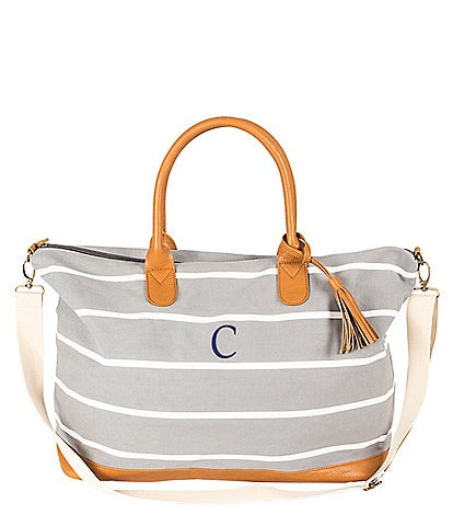 Cathys Concepts Tasseled Initial Striped Canvas Oversized Weekender Tote